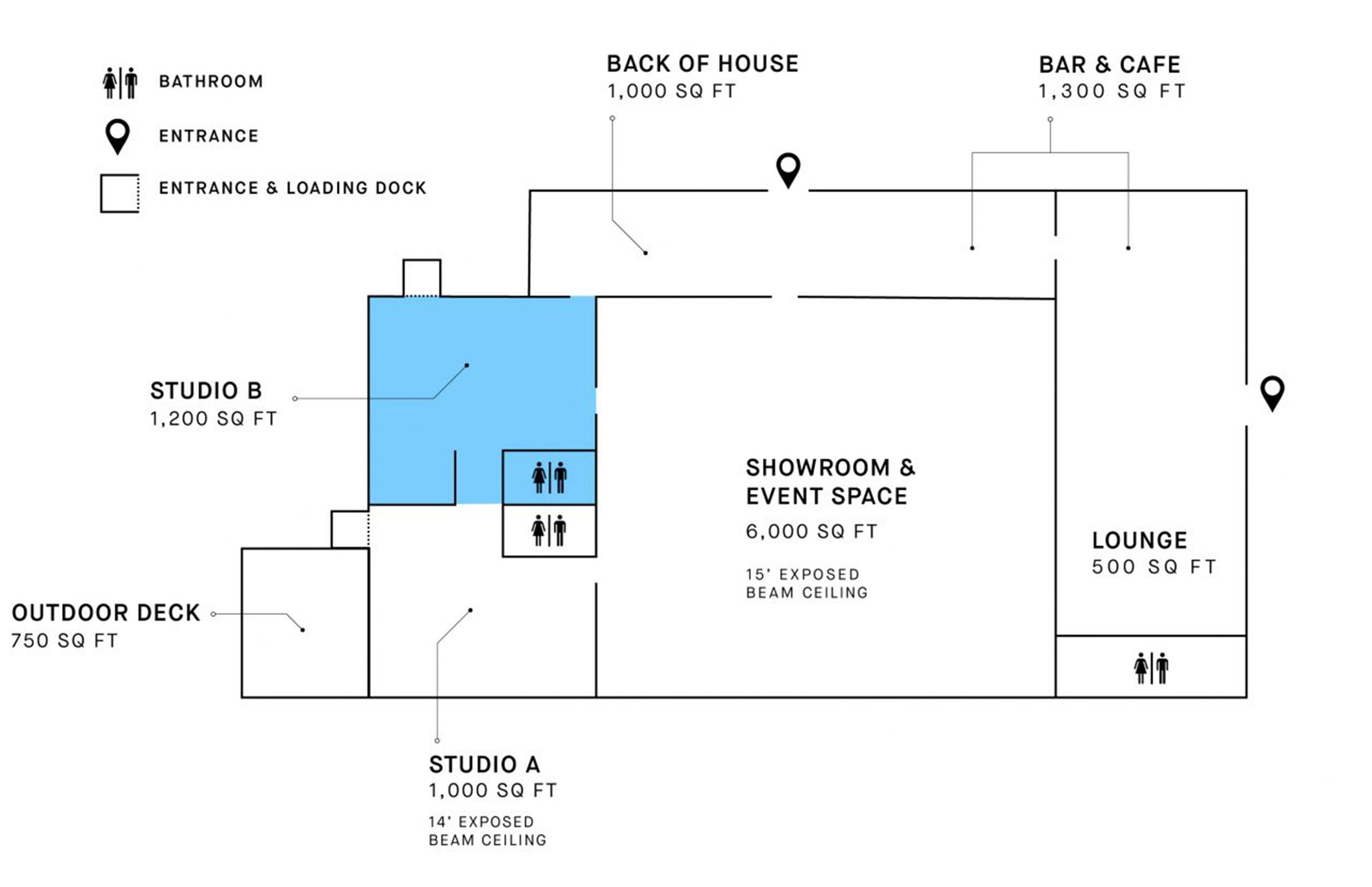 wayla studios midtown studio b floorplan